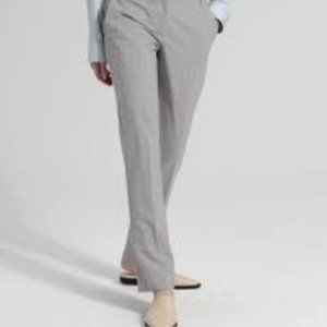 Theory Sz 12 Straight Trousers  In Stretch Wool